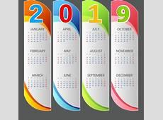 2019 calendar template multicolored modern vertical bars