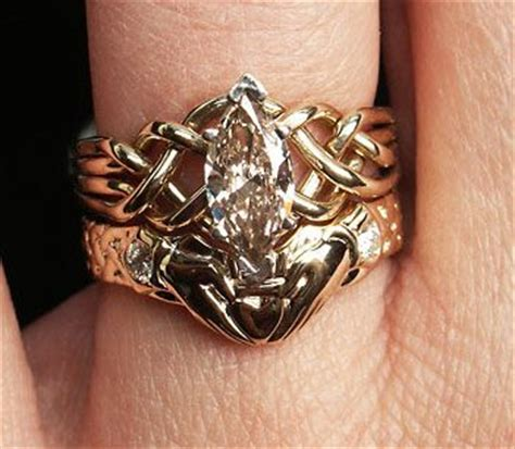 0 93ct marquise diamond puzzle ring with diamond claddagh