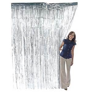3 x 8 silver foil metallic fringe curtain photo