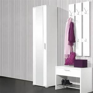 penderie 1 porte avec miroir l55xp35xh200cm primus blanc With porte d entrée alu avec meuble salle de bain bon rapport qualité prix