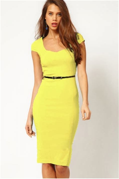 Yellow Trendy Womens Heart Collar Cap Sleeve Bodycon Midi Dress - PINK QUEEN