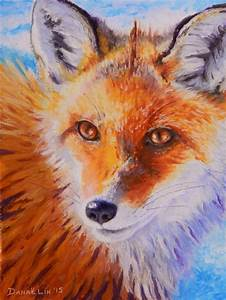 Original Oil Pastel Fox Painting Ever Watchful 6 x 8 by ...
