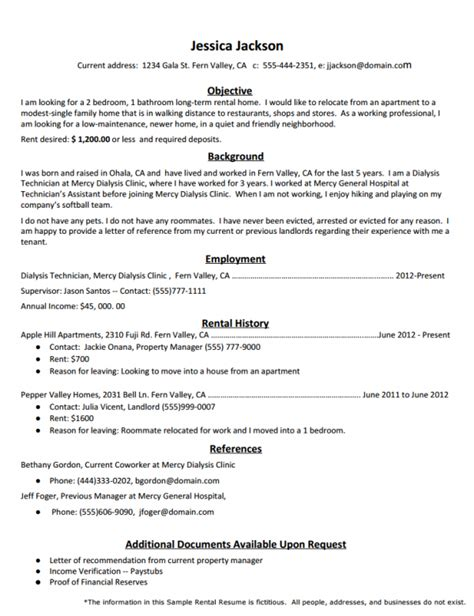 how to create the rental resume