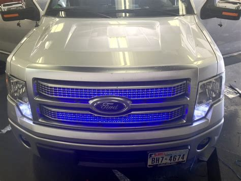 Another Truck Getting Custom Blue Led Lights In Grill With