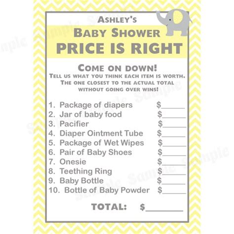 baby shower price is right 24 baby shower price is right cards elephant design