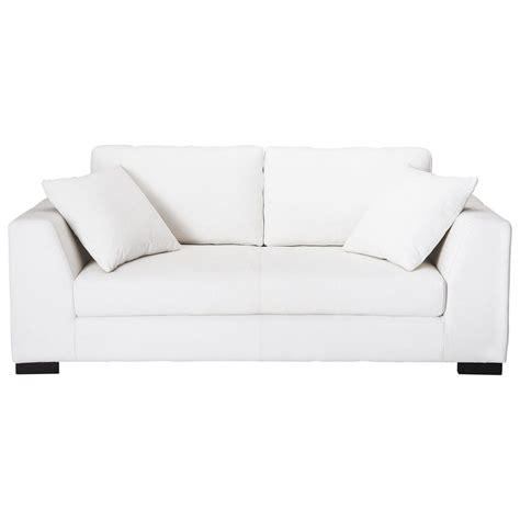 canapé 2 3 places en cuir blanc terence maisons du monde