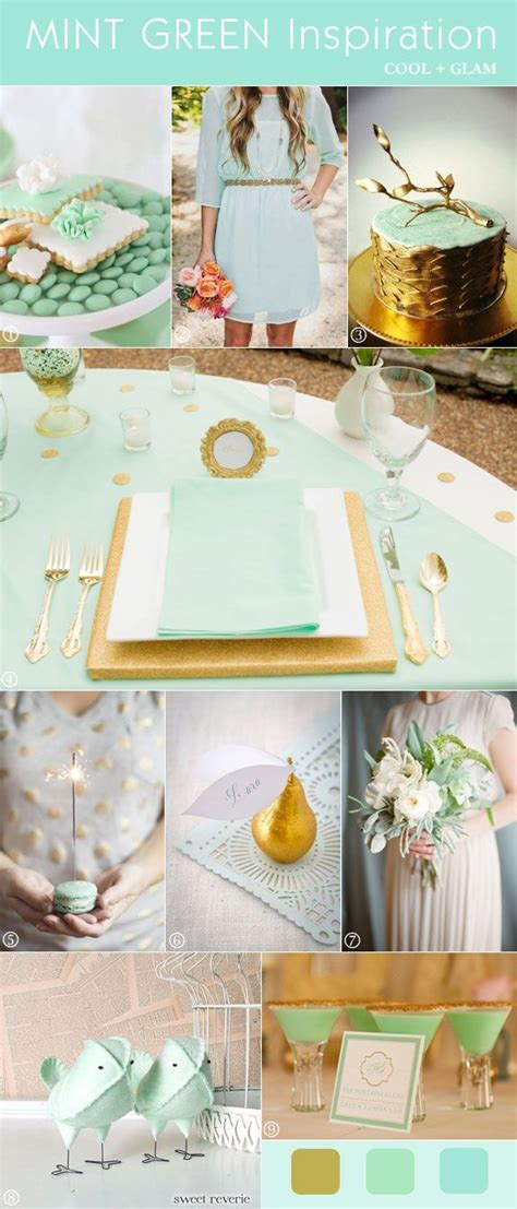 Mod Glam Wedding Inspiration Mint Green And Gold
