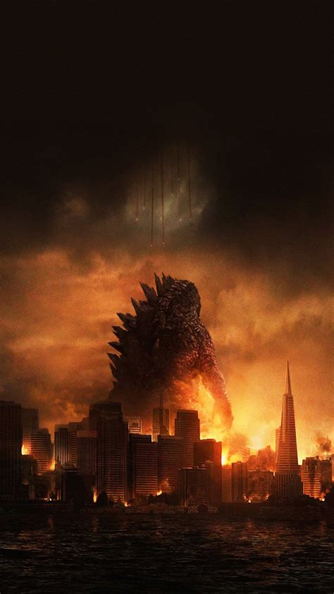 Godzilla Destroying City Movie Poster Android Wallpaper ...