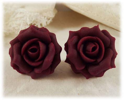 garnet red rose stud earrings clip  earrings