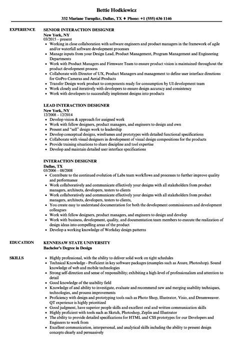 Interaction Designer Resume interaction designer resume sles velvet