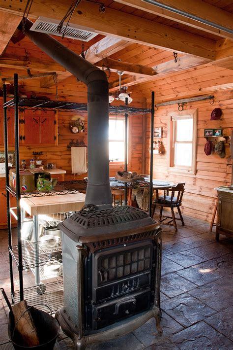 deer camp cabin   wood stove   frankes blue