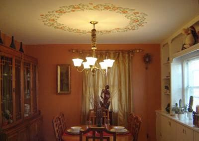 stenciled ceiling light border  dining room