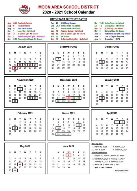 school calendar approved moon area middle school
