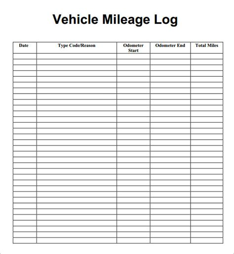 Time Milage Expense Template by Search Results For Printable Mileage Log Template