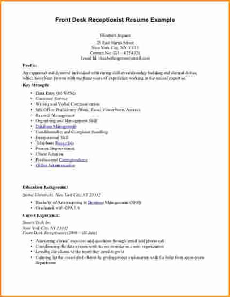 Front Desk Resume Description by 8 Front Desk Receptionist Resume Sles Invoice Template