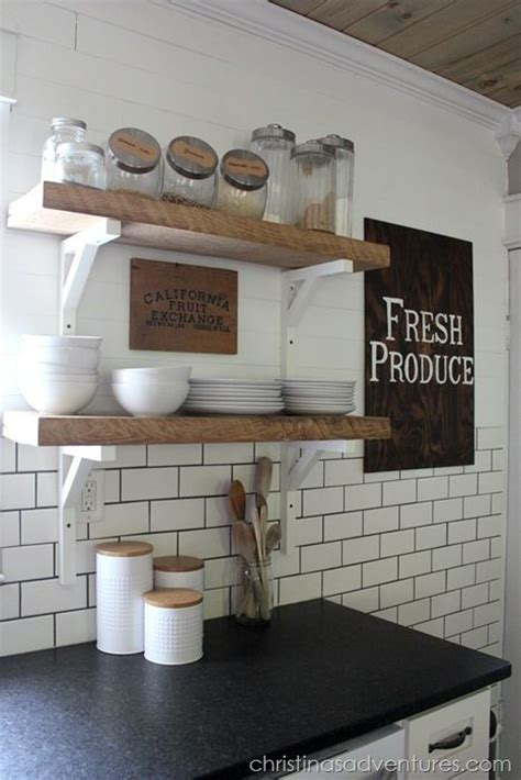 open shelving subway tiles and farmhouse kitchens on