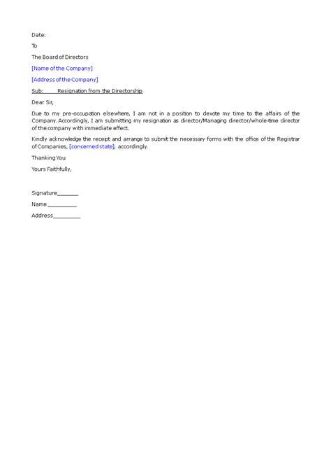 Director Resignation Letter Format | Templates at allbusinesstemplates.com