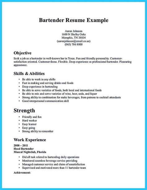 Resume Bartender by Impressive Bartender Resume Sle That Brings You To A