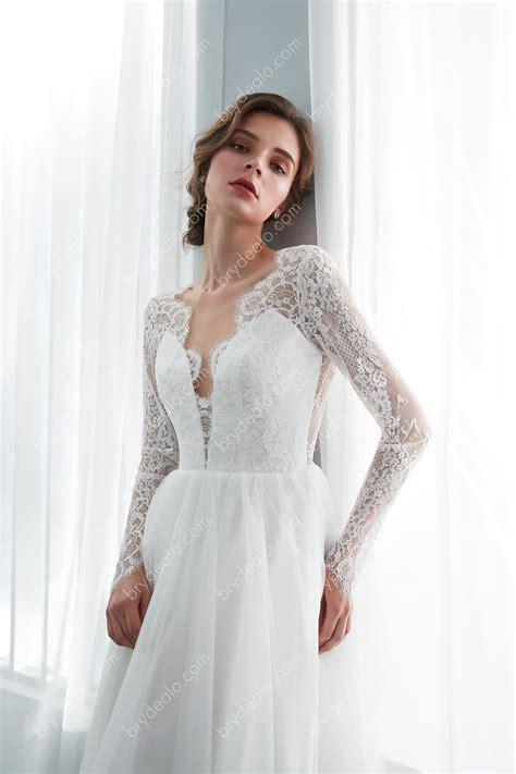 Illusion Long Sleeve Scallop Neck Wedding Dress