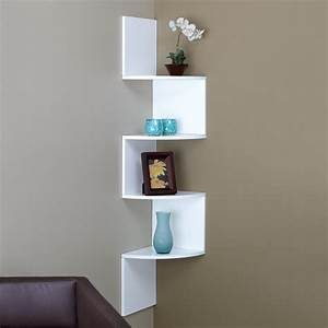 diy wood wall mounted corner wall shelf painted with white With the advantages and ideas of hanging wall shelves