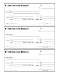 printable donation receipt business forms pinterest