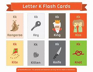 printable letter k flash cards With 2 letter words flash cards