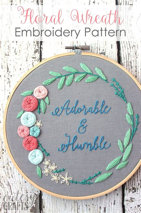adorable  humble  floral wreath hand embroidery