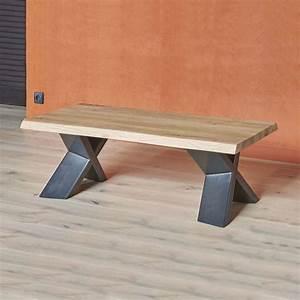 Table Basse Panier : table basse moderne en ch ne massif et m tal pieds en x forest 4 ~ Teatrodelosmanantiales.com Idées de Décoration