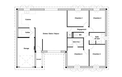 plan maison en l 4 chambres plan maison rectangle 4 chambres