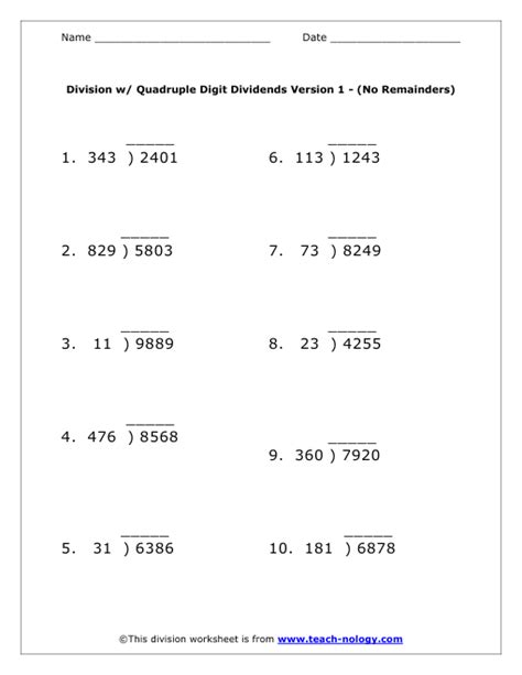quadruple digit dividends worksheet version