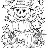Coloring Fall Autumn Pages Pumpkin Scarecrow sketch template