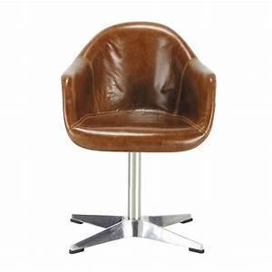 Fauteuil Suspendu Maison Du Monde : fauteuil en cuir marron delta maisons du monde ~ Premium-room.com Idées de Décoration