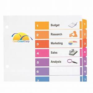 Avery ready index table of contents dividers 10 tab set for Avery ready index template 12 tab