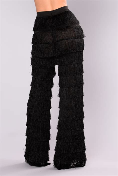 katyana layered fringe pants black