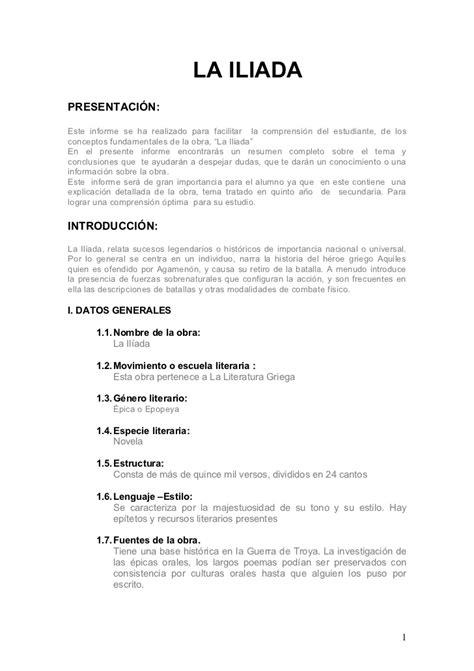 Resumen De La Iliada by La Iliada