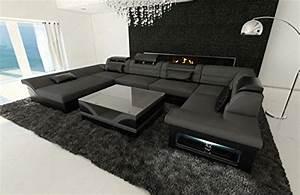 Couchgarnitur U Form : stoff leder wohnlandschaft enzo u form grau ~ Orissabook.com Haus und Dekorationen