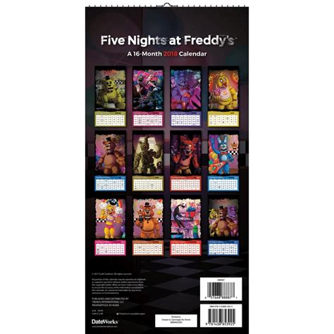 nights freddys vertical wall calendar