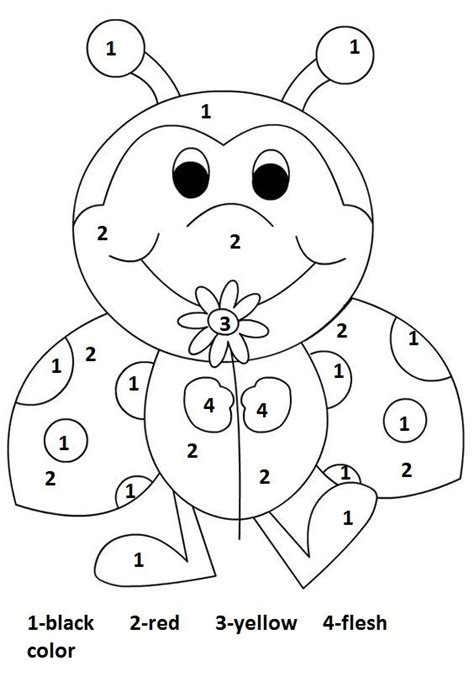 color  number ladbug worksheet crafts  worksheets