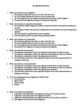 ecology vocabulary worksheet answers kidz activities