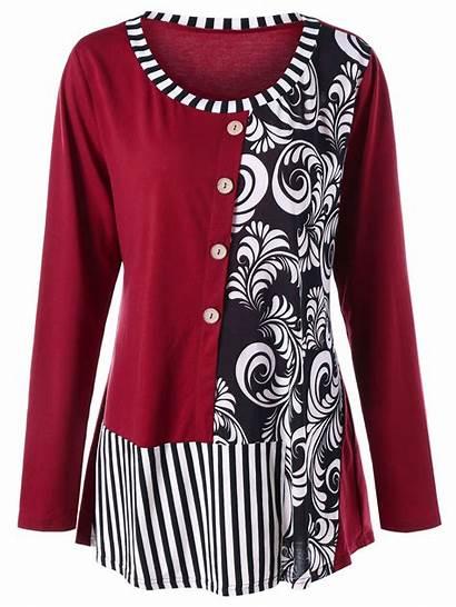 Bandana Shirts Floral Striped Tops Wine Rosegal