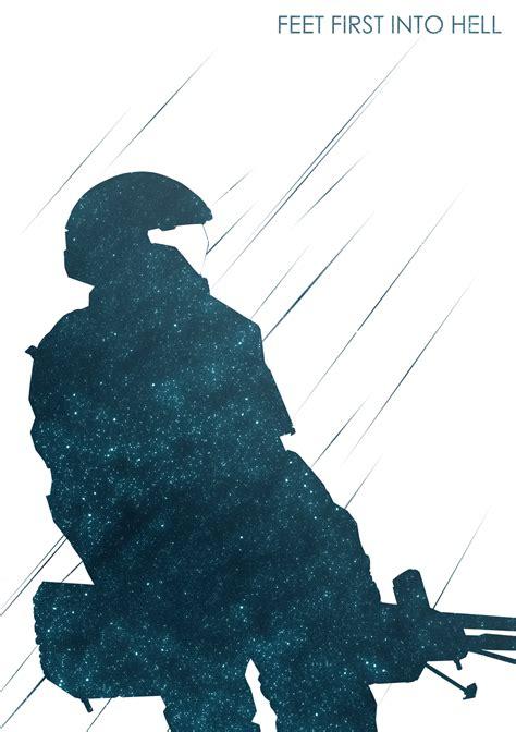 Art Gaming Poster Fan Art Halo Geek Minimalist Tribute