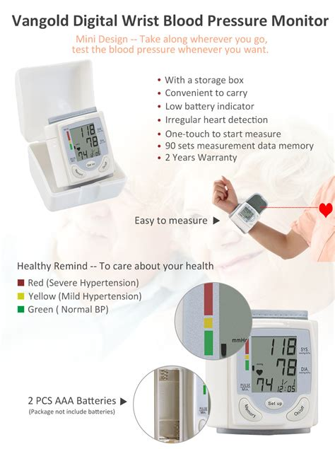 Amazon.com: Vangold Wrist Blood Pressure Monitor with