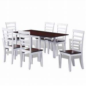 Esstisch Set Mit Stühlen : der braun wei es stabiles erweiterbares esstisch set mit 6 st hlen online shop ~ Frokenaadalensverden.com Haus und Dekorationen