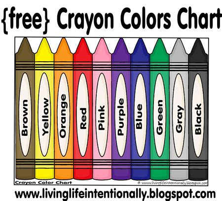 crayon color chart free from 123 homeschool 4 me 623 | e0d71fc44b3e34be49b777889f7b5088