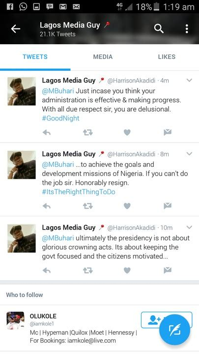 Muhammadu buhari's twitter account was suspended for 12 hours after the nigerian president's twitter has deleted a tweet by nigeria's president muhammadu buhari in which he threatened to. A Nairalander Asked Buhari To Resign. Via Twitter. PICTURE - Politics - Nigeria