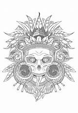 Coloring Skull Aztec Pages Adults Incas Shades Mayans Grey Adult Aztecs Incredible Gray sketch template
