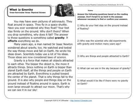 of gravity worksheet what is gravity 2nd grade reading comprehension worksheets