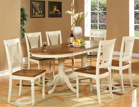 7pc Oval Dining Room Set Table 6 Chairs Extension Leaf  Ebay
