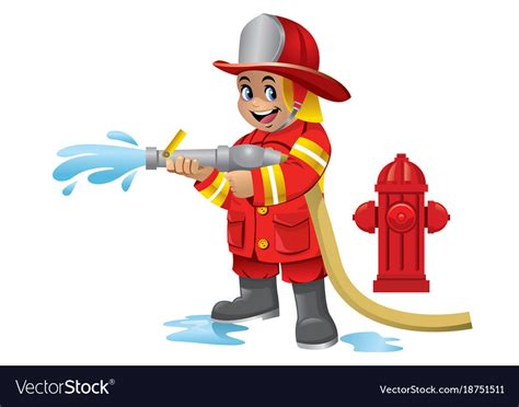Cute Cartoon Kid Of Firefighter Royalty Free Vector Image