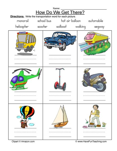 transportation worksheets teaching